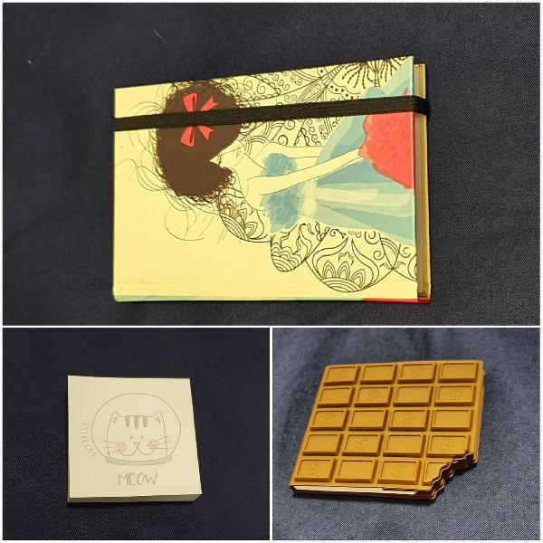 Kit 3 blocos de anotações e 1 cartela de sticker diamante