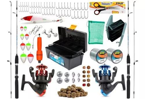 Kit de pesca barato 2 varas 2 molinetes + caixa vários