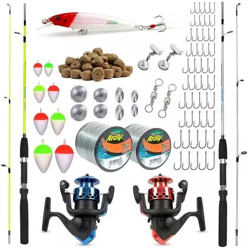 Kit de pesca completo 7kg c/ 2 varas 1,50m + 2 molinetes +