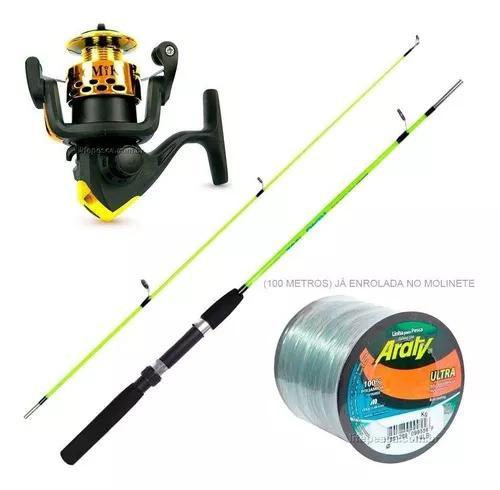 Kit de pesca vara + molinete c/ linha - melhor preço!