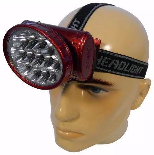 Lanterna cabeça 13 leds recarregável camping pesca caça