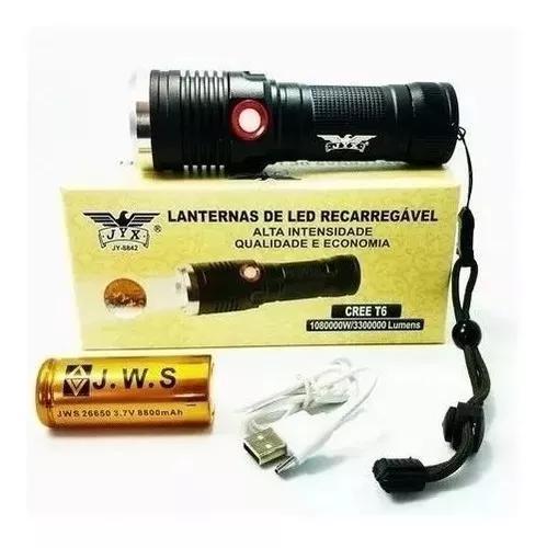Lanterna tática led potente cree t6 recarregável usb jy