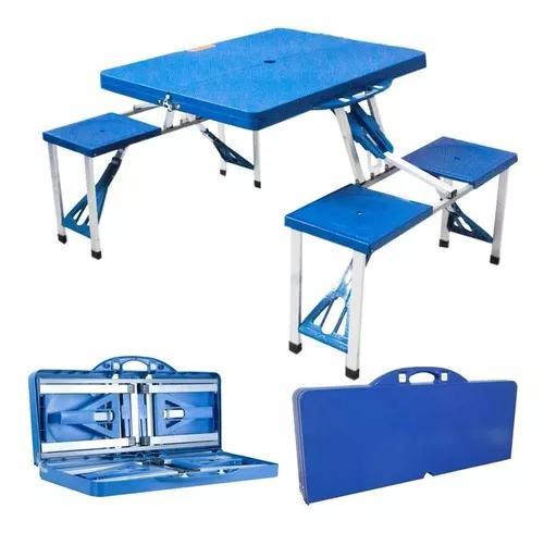 Mesa dobrável camping maleta 4 bancos banquetas alumínio