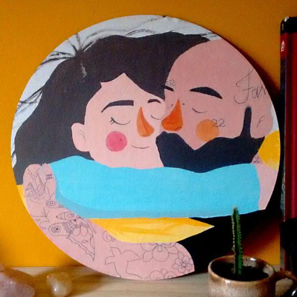 Tela casal abraçadinho (por encomenda)