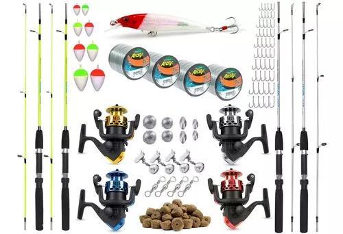 Tralha P Pescaria Completo 4 Varas 4 Molinetes E Acessórios