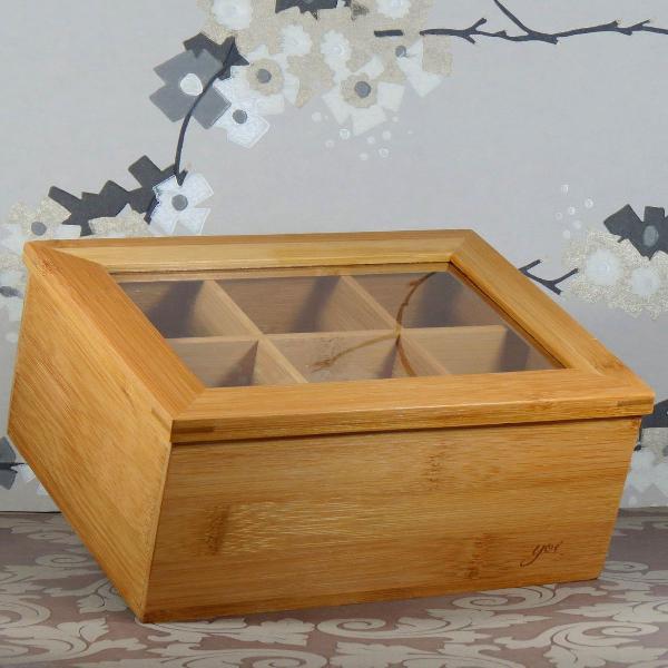 Caixa de chá madeira bambu 6 divisórias linha hibisco