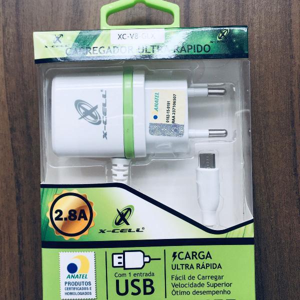 Carregador ultra rápido certificado anatel micro usb v8