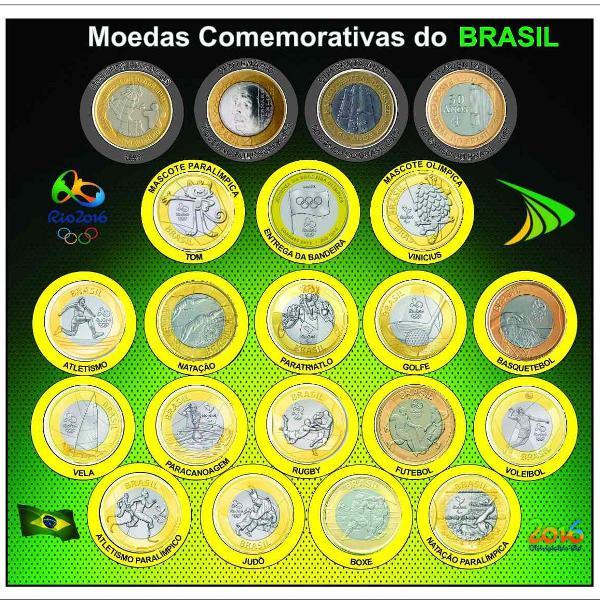 Coleção completa 21 moedas comemorativas de 1 real (c/ dh