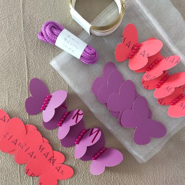Kit artesanato diy 09: borboletas roxas + borboletas rosas +