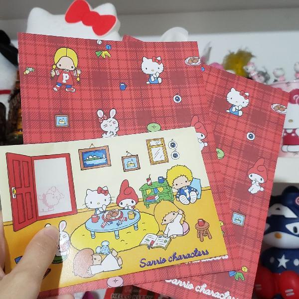 Kit cim 2 papeis de carta e 1 envelope sanrio japão