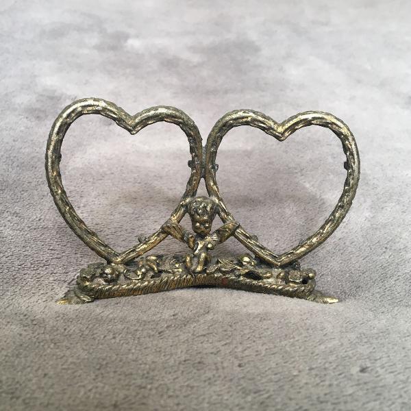 Mini porta retrato corações vintage