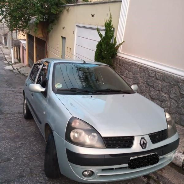 Renault clio 2003 prata 1.6 16v - gasolina - completo