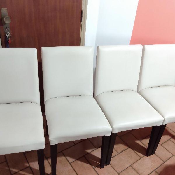 4 cadeiras lindas! madeira eucalipto cor creme em couro
