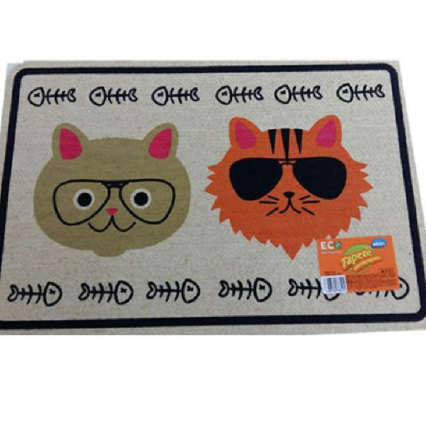 Capacho tapete divertido pet gato 60cm x 40cm