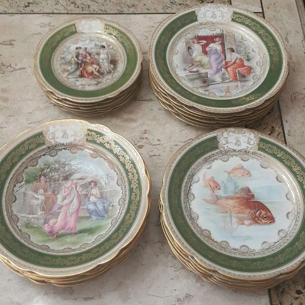 Jogo de pratos em porcelana italiana, veneza