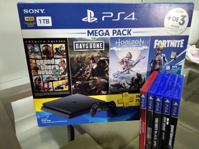 Playstation ps4 slim 1tb+5 jogos originais (pouco uso, na