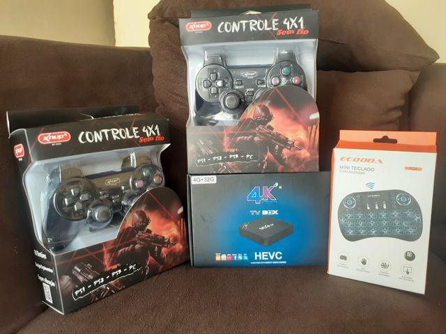Super tv box gamer +2controles s/ fio +mini teclado 30 dias