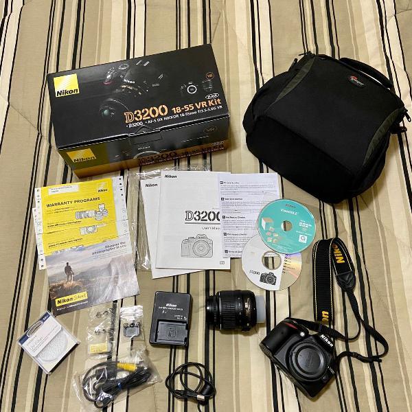 Camera nikon d3200 + lente 18-55mm + uv filter + bolsa