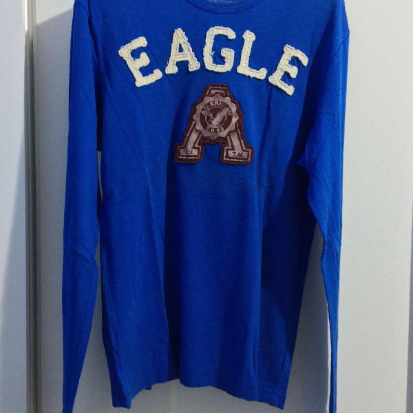 Camisa de manga comprida azul american eagle