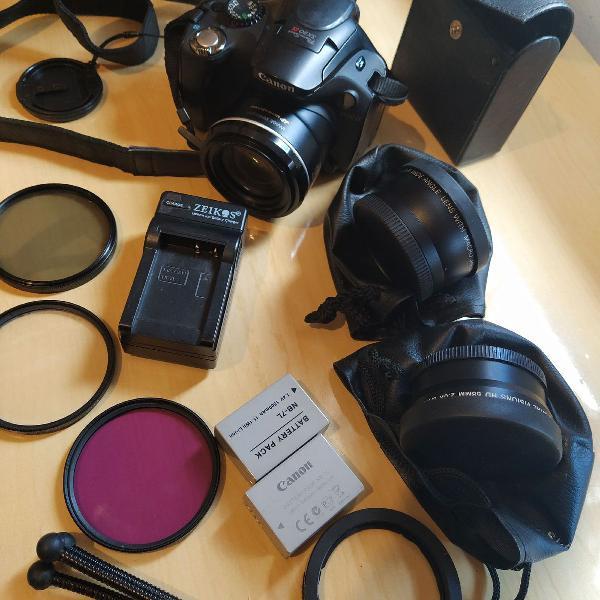 Kit com câmera cânon semi profissional