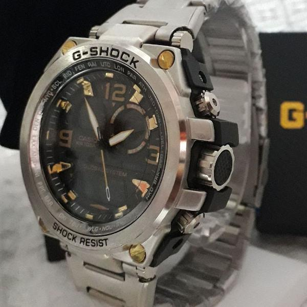 Relógio g-shock masculino prata fundo preto analógico