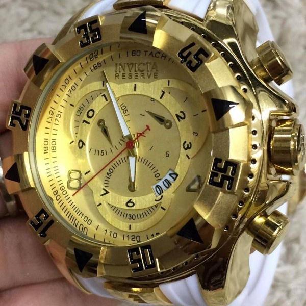 Relógio invicta dourado pulseira branca grande