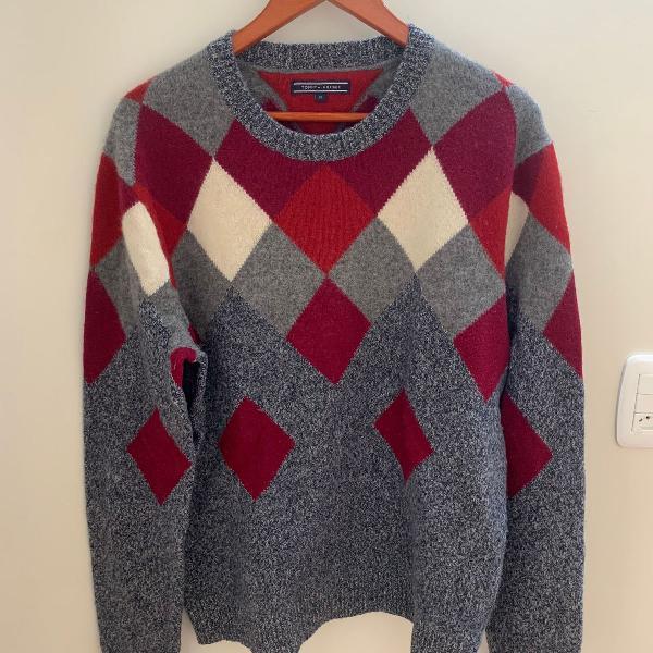 Suéter/moletom tommy hilfiger masculino lã de cordeiro