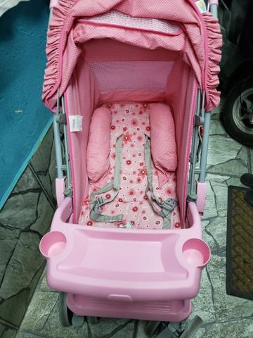 Carrinho + bebê conforto - tutti baby cor de rosa