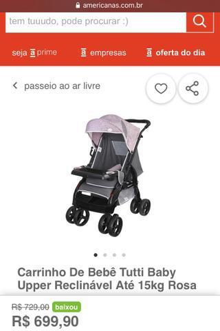 Carrinho de bebê tutti baby uper reclinável até 15kg +