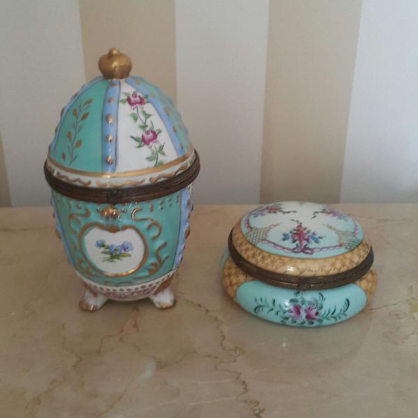 Conjunto ovo e potiche - porcelana limoges