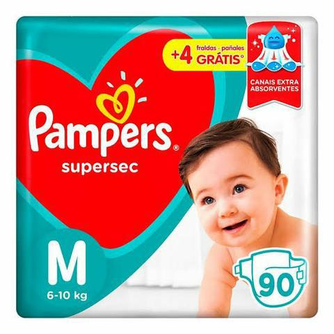 Fraldas Pampers supersec M com 90