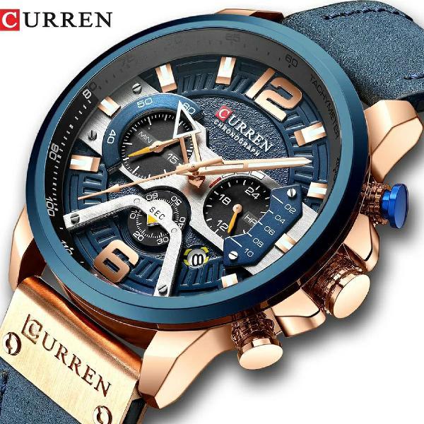 Relógio curren - casual luxo - pulseira couro - azul