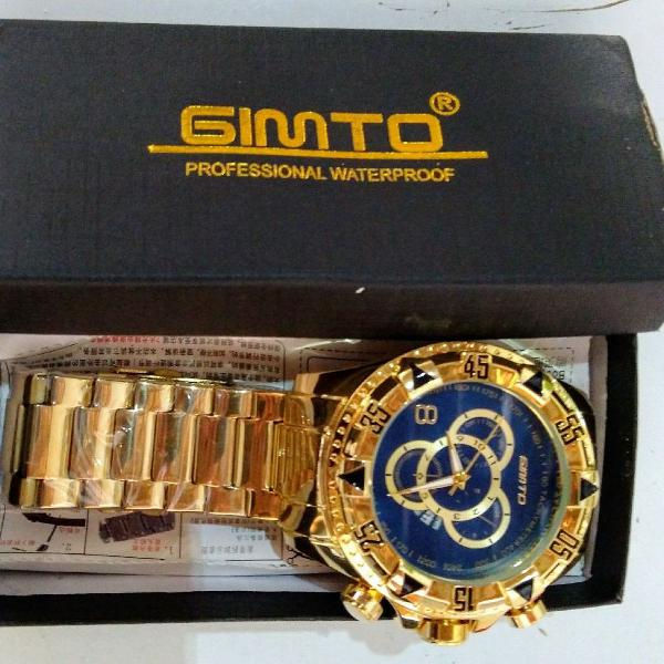 Relógio masculino gimto reserve - aço inox - importado