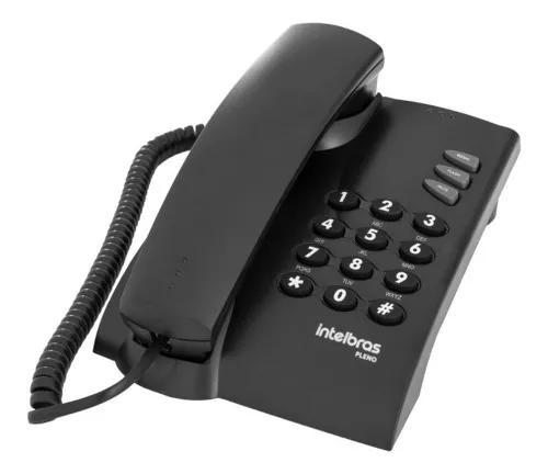 Telefone mesa parede fixo intelbras pleno preto original nfe