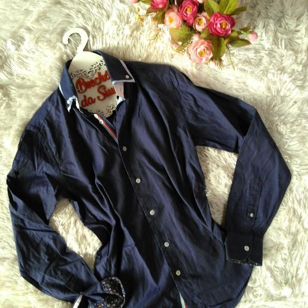 Zara man camisa masculina azul com detalhes p!