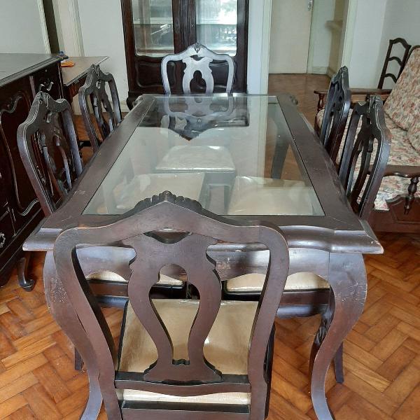 Mesa de jantar madeira maciça - 6 lugares