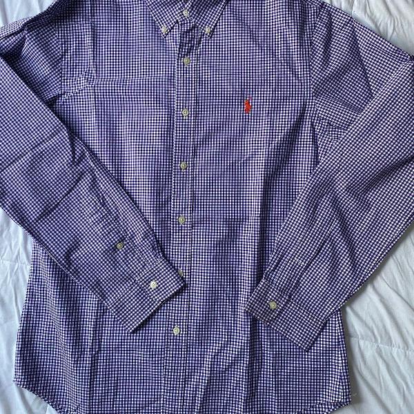 Ralph lauren camisa de botão xadrez linda