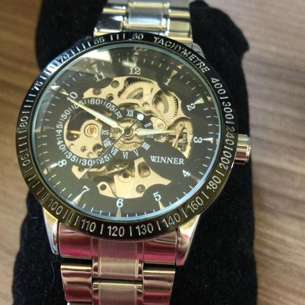 Relógio winner automático prata e preto + brinde