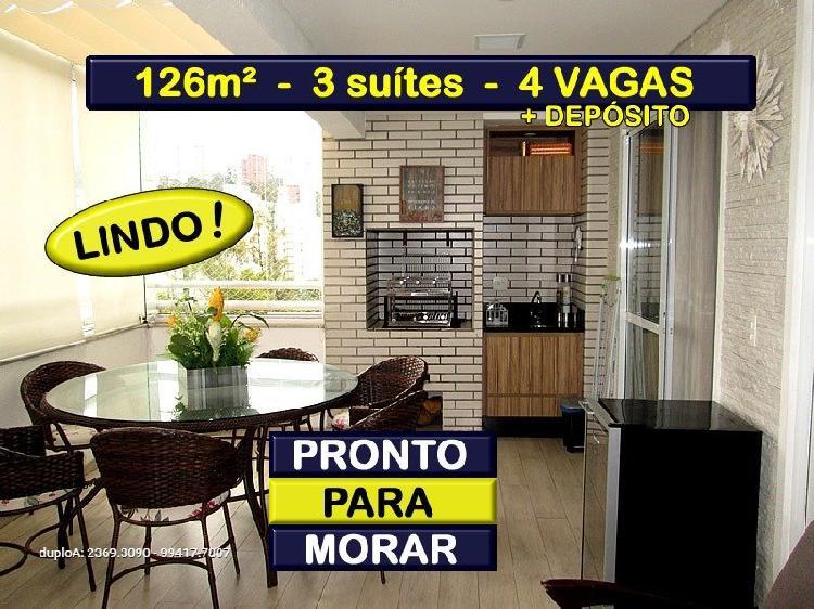 126m² - 3 suítes - 4 vagas - churrasqueira