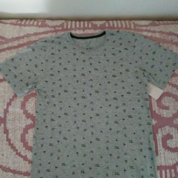 Blusa masculina camiseta cinza estampa coqueiro frases do