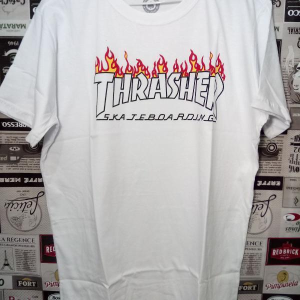 Camiseta thrasher skateboarding 100% algodão tm gg branca