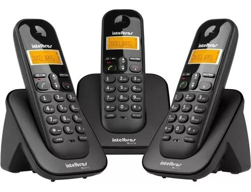 Intelbras telefone s/fio ts3113 preto + 2 ramais dect6 +nfe