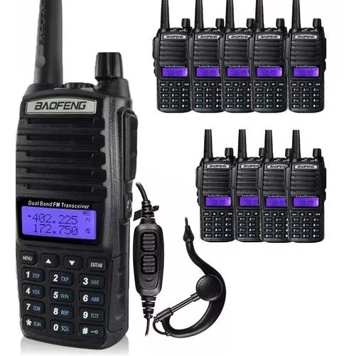 Kit 10 rádio ht comunicador 5w bf uv-82 vhf uhf fm