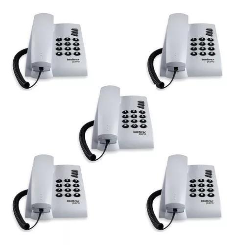 Kit 5 unidades telefone com fio intelbras pleno branco