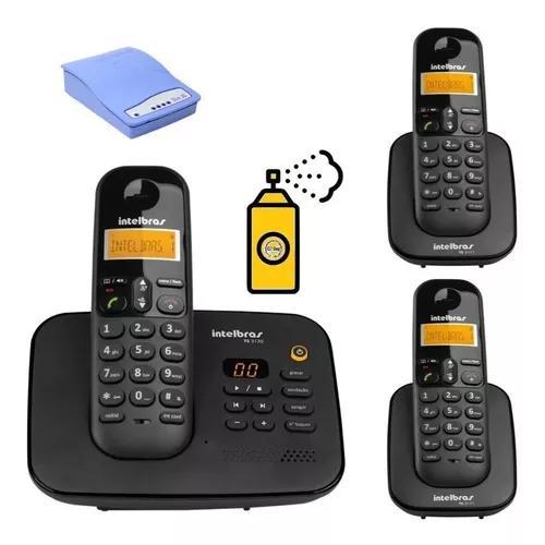 Kit aparelho telefone fixo ts 3130 bina 2 ramal entrada chip