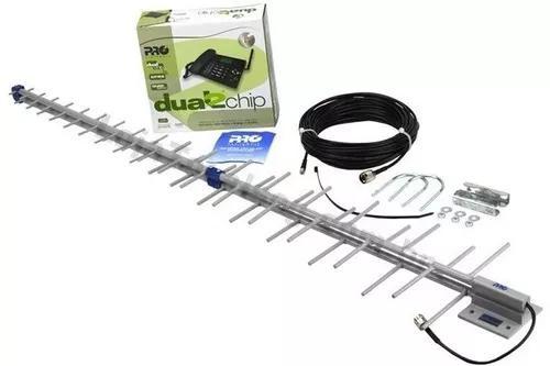 Kit telefone celular mesa 2 chips rural cabo antena externa