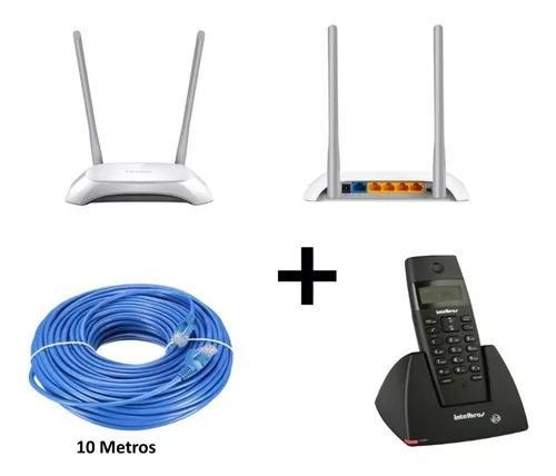 Kit telefone s/ fio com identificador + roteador + 10m cabo