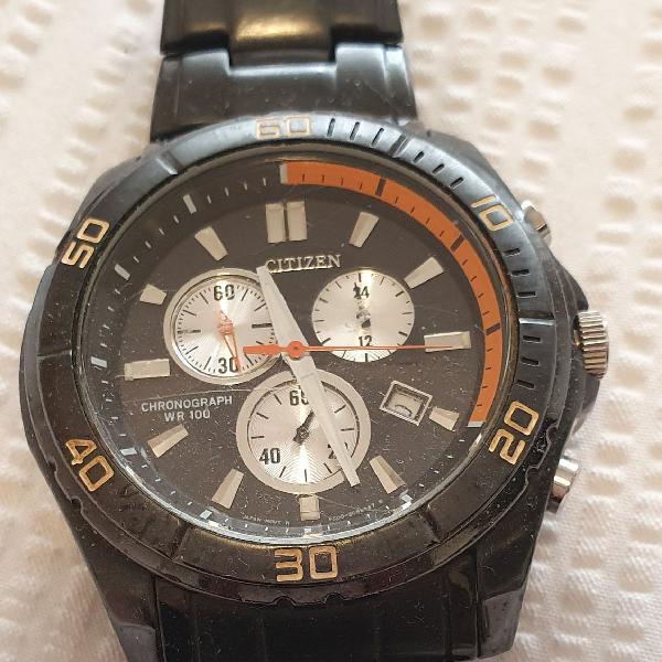 Relógio citizen original cronógrafo, esporte wr 100