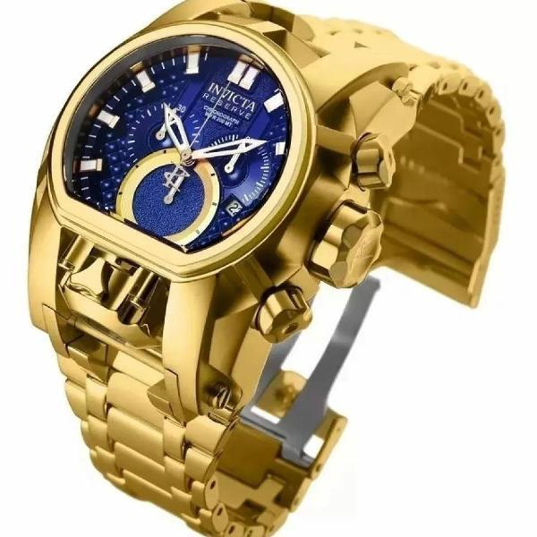 Relógio invicta reserve bolt zeus magnum dourado e azul