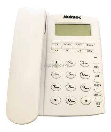 Telefone c/ fio viva voz office id branco multitoc